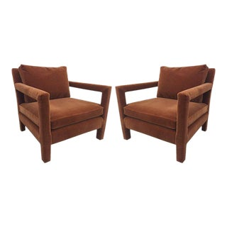 Pair of Milo Baughman Lounge Chairs in Mohair For Sale