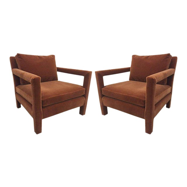 Pair of Milo Baughman Lounge Chairs in Mohair - Image 1 of 5