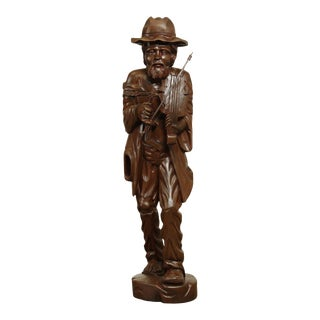 "Vintage Hand Carved 52"" Large Wood Statue of Hobo Fiddle Player Man For Sale"