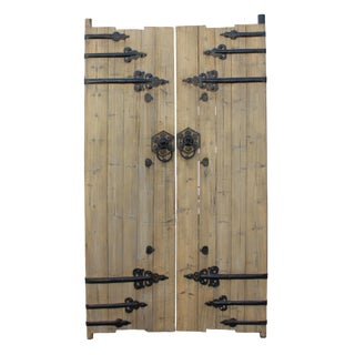 Chinese Vintage Iron Hardware Door Gate Wall Tall Panel For Sale