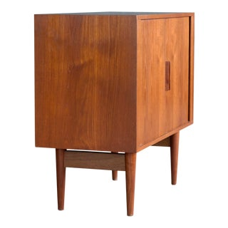 Kai Kristiansen Danish Small Teak Media Console or Sideboard With Tambour Doors For Sale