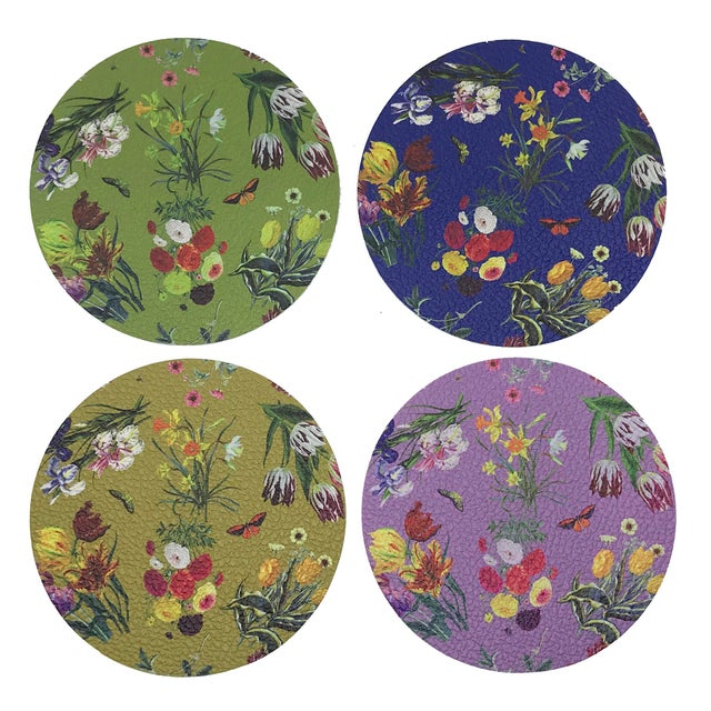 Contemporary Flora Fauna Coasters, Set of 4 For Sale - Image 3 of 3