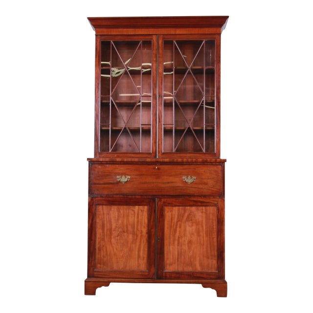 English George III Style Mahogany and Cherry Drop Front Secretary Desk With Bookcase, Circa 1870 For Sale