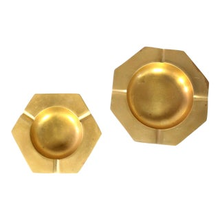 1960's Modernist Geometric Octagonal & Hexagonal Solid Brass Ashtrays or Jewelry Dishes - Set of 2 For Sale