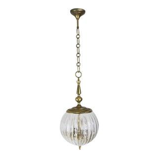 Hanging Glass and Brass Light Fixture