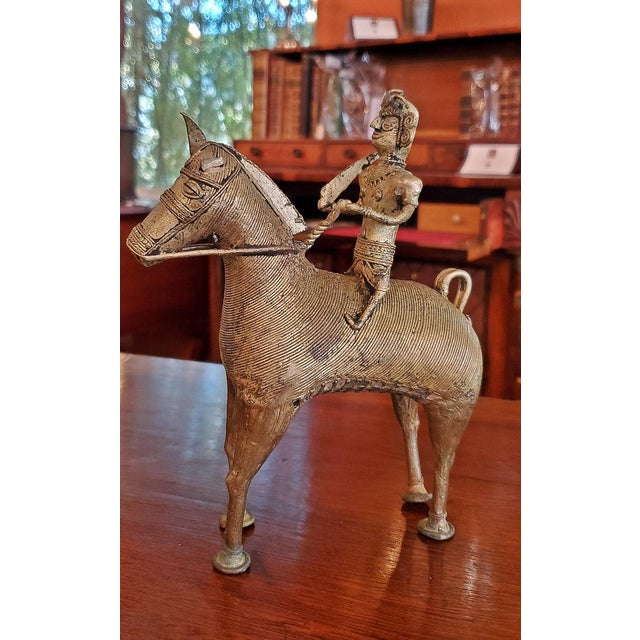 Antique Indian Dhokra Horse and Rider Sculpture For Sale - Image 9 of 11