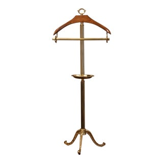 Early 20th Century French Brass and Walnut Free Standing Jacket and Pants Holder For Sale