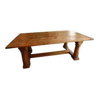 1990s French Ralph Lauren Trestle Distressed Pine Farm Table For Sale