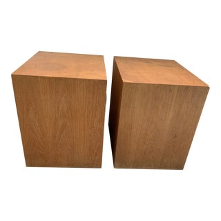 1970s Mid-Century Modern Penthouse Architectural Cube Side Tables - a Pair For Sale