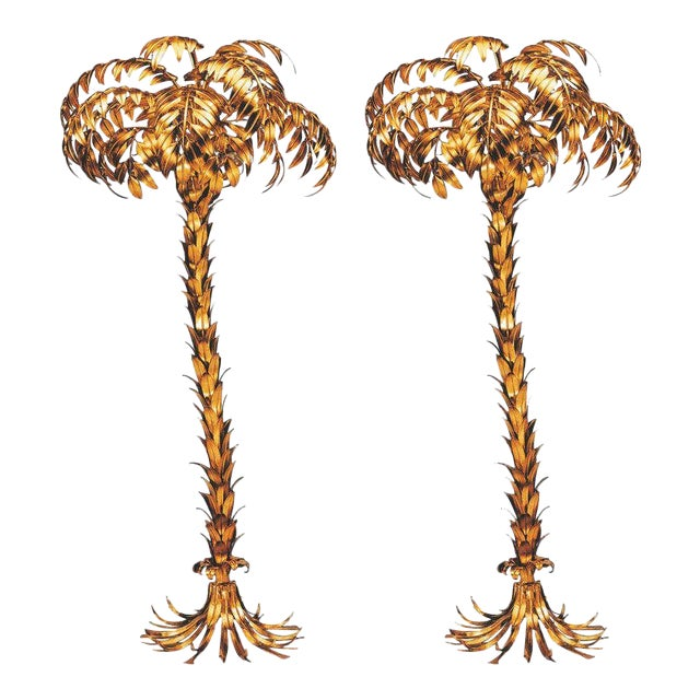 Pair of Huge Matched Hans Kögl Palm Tree Floor Lamps For Sale