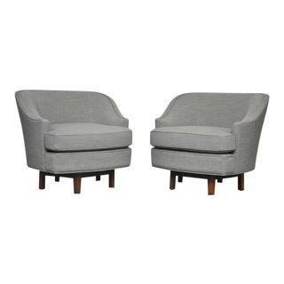 1950s Dunbar Edward Wormley Gray Tweed Swivel Chairs - a Pair For Sale