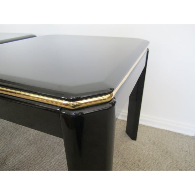 Vintage Modern Black Lacquer & Brass Tables - Pair - Image 9 of 10