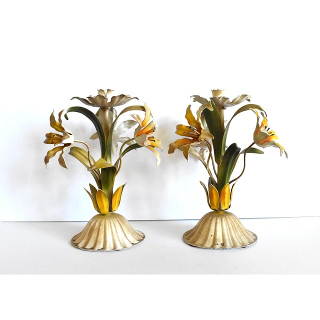 Mid 20th Century Vintage Italian Tole Lilies Flowers Painted Tole Candle Holders - a Pair For Sale - Image 5 of 10
