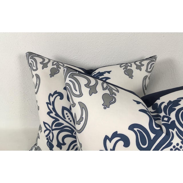 Cotton Medallion Motif Blue & White Pillows – a Pair For Sale - Image 7 of 9