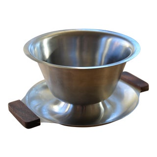 Danish Modern Stainless Serving Bowl For Sale