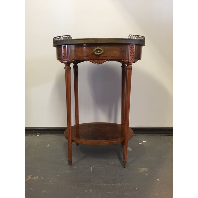 1900s French Oval Side Table With Marble Top For Sale - Image 13 of 13