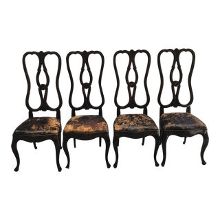 1980s Vintage B. Altman & Co. Highback Queen Anne Style Dining Chairs- Set of 4 For Sale