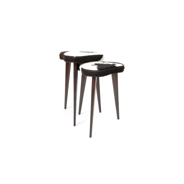Animal Skin Pair of Small Nesting Stools From France For Sale - Image 7 of 7