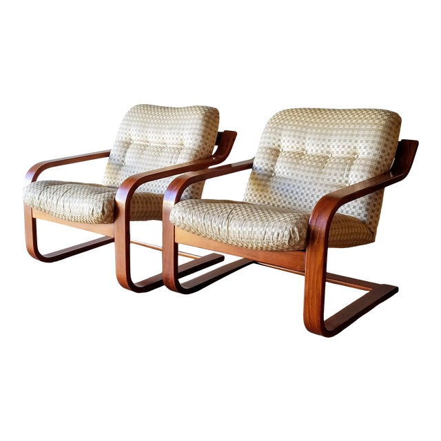 1970s Westnofa Bentwood Lounge Chairs - a Pair For Sale