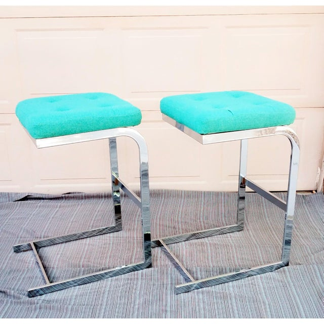 Mid-Century Modern 1970s Mid-Century Modern Design Institute America Cantilevered Chrome Barstools - a Pair For Sale - Image 3 of 6