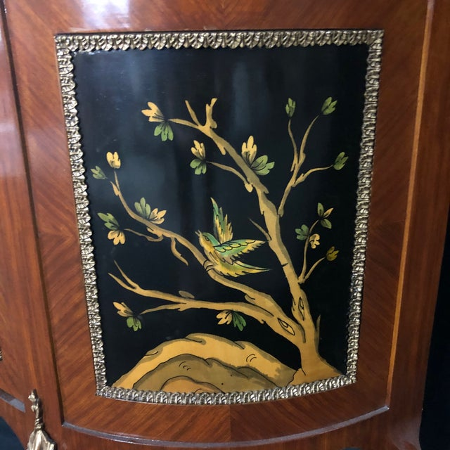 French Louis XV Style Inlaid Demilune Buffet Cabinet Credenza For Sale - Image 4 of 13