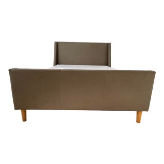 West Elm Leather Sleigh Bed in Elephant Grey For Sale