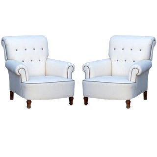 Mid 19th Century Vintage Napoleon III Bergeres- A Pair For Sale