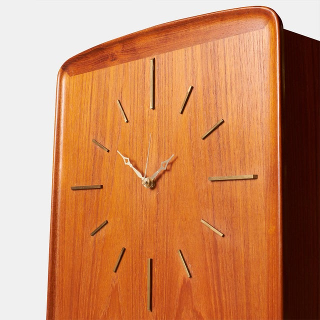Mid-Century Modern An Arne Hovmand-Olsen teak Clock with interior cabinet For Sale - Image 3 of 8