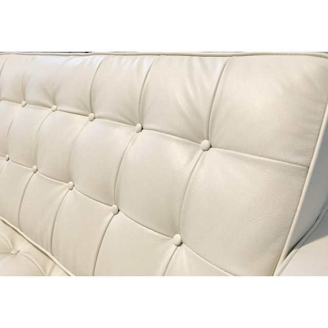 Kardiel Warm White Leather Knoll-Style Sectional - Image 5 of 6