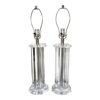 Vintage Mid-Century Lucite Column Lamps - A Pair For Sale