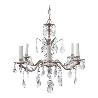 Antique Spanish Style Silver Plated Chandelier For Sale
