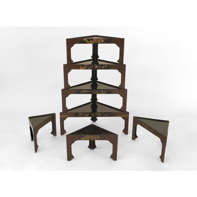 Set of 7 Asian Japanese (19th Cent) stacked black lacquered tables in the form of a tiered corner etagere with each table...