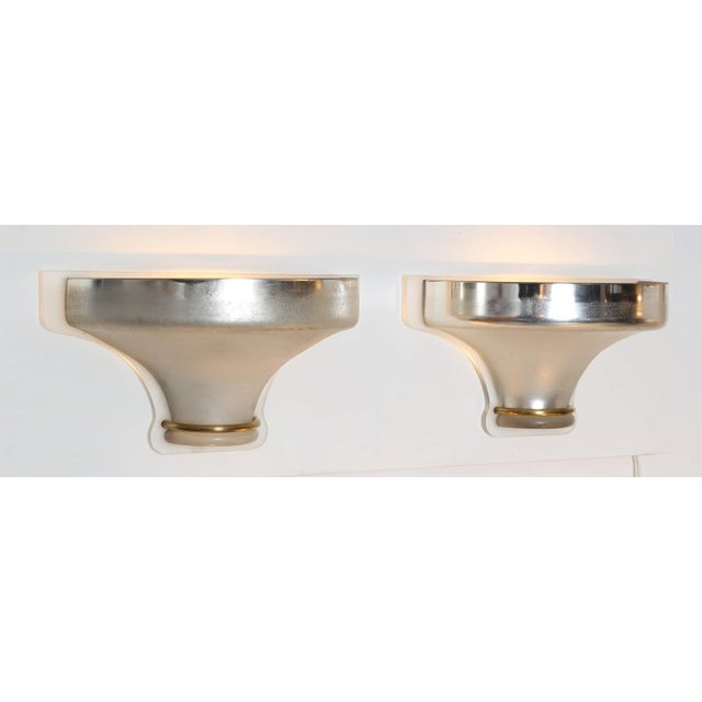 Mid-Century Modern 1980S vintage KARL SPRINGER VENETIAN GLASS SCONCES- a pair For Sale - Image 3 of 7