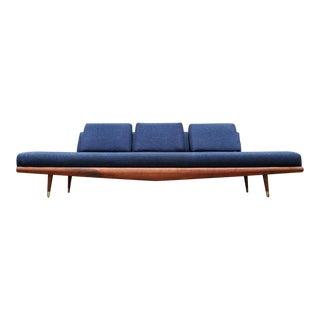 Original Adrian Pearsall Long Walnut Blue Gondola Sofa Bed Couch