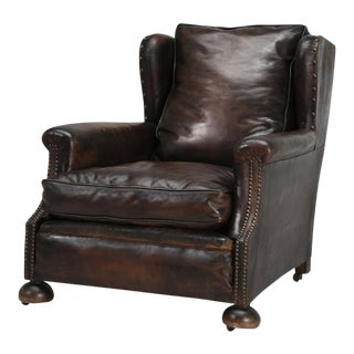 French Leather Club Chair Designed for Taller Men or Woman