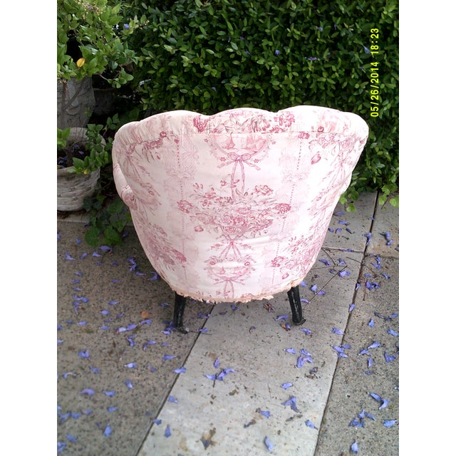 French Country Victorian French Tufted Chair For Sale - Image 3 of 5