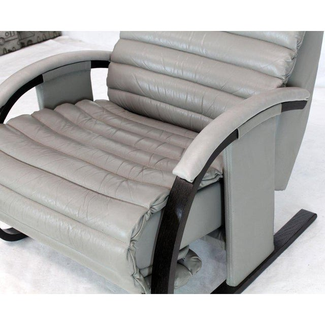 Gray Pair of Leather Ribbed Upholstery Reclining Lounge Chairs Bent Wood Tank Style For Sale - Image 8 of 13