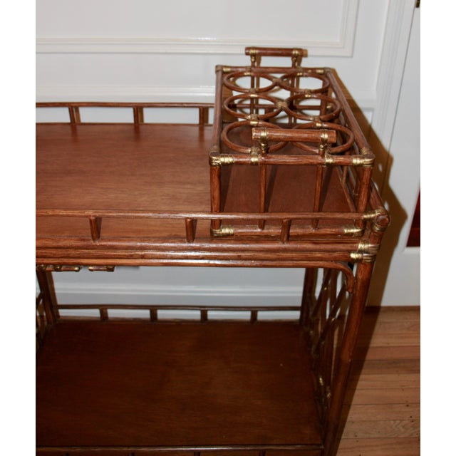 Golden Rattan Bar Cart - Image 4 of 10