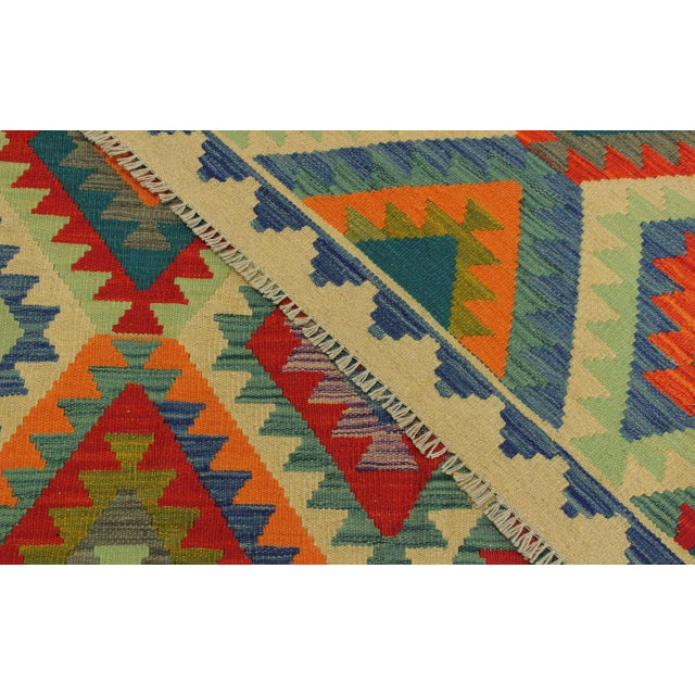 Textile Lan Ivory/Blue Hand-Woven Kilim Wool Rug -8'1 X 9'7 For Sale - Image 7 of 8
