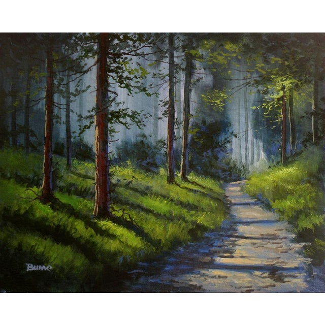 """Contemporary """"Forest Hill"""" Oil Painting By Douglas """"Bumo"""" Johnpeer For Sale - Image 3 of 3"""