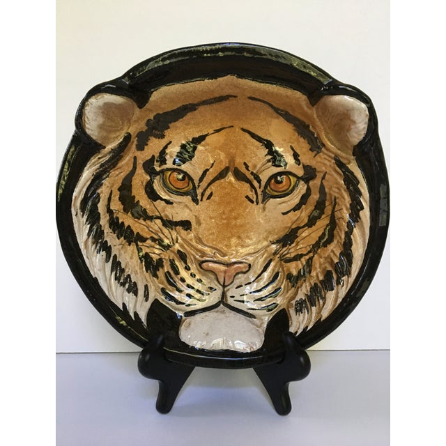** Please visit my shop for other mid century Italian pieces. This is an Italian glazed pottery lion face bowl, in relief,...