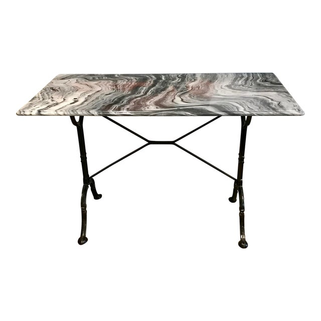 1920s French Marble Top Iron Base Console For Sale