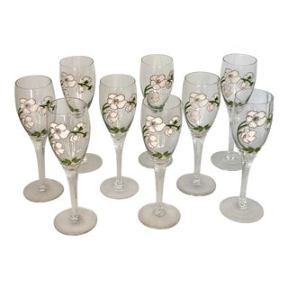 Mid-Century Modern 1960's Perrier Jouet Hand-Painted Champagne Flutes - Set of 9 For Sale