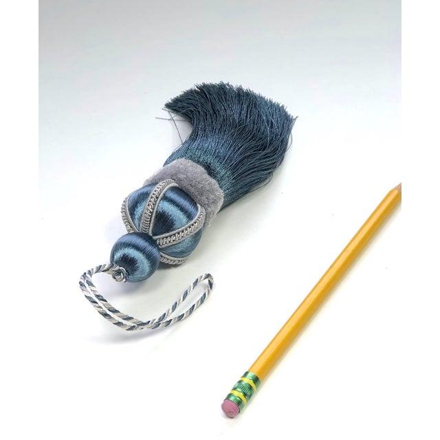 Blue Key Tassel With Cut Velvet Ruche For Sale - Image 10 of 11