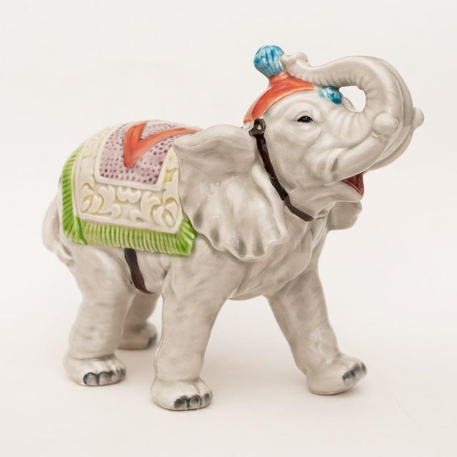 1980s 1983 Japanese Porcelain Circus Elephant Figurine or Bookend For Sale - Image 5 of 13