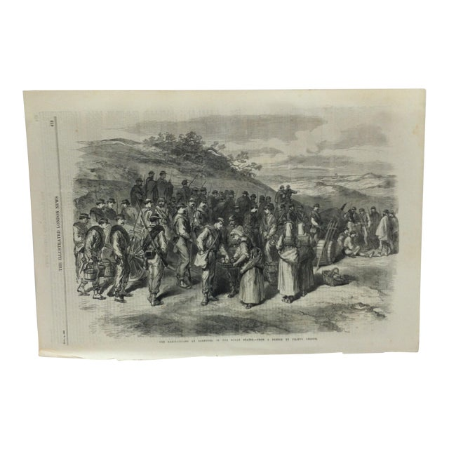 "1867 Antique ""The Garibaldians at Bagnorea - in the Roman States"" The Illustrated London News Print For Sale"