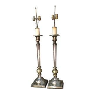 1970s Art Deco Chapman Tall Candlestick Buffet Lamps - a Pair