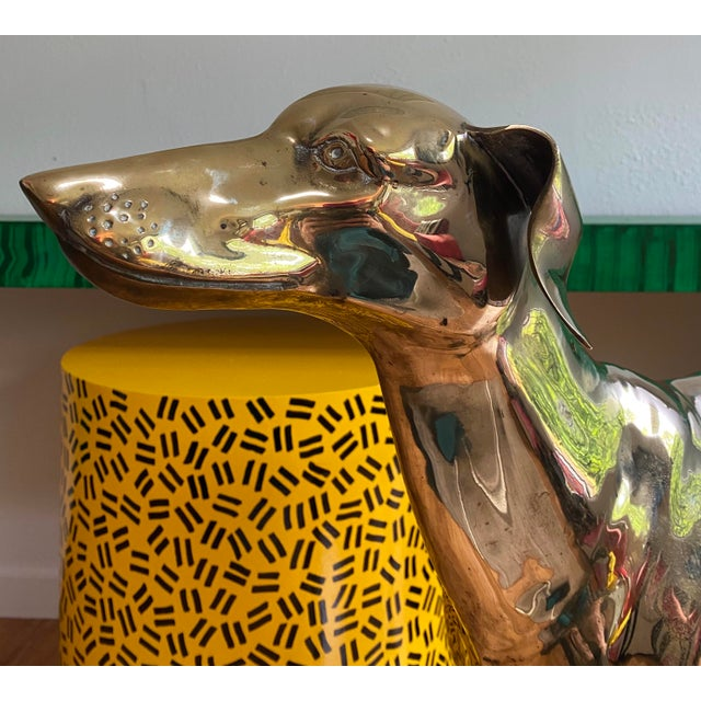 Life Size Vintage Brass Whippet Dog Statue For Sale - Image 4 of 9