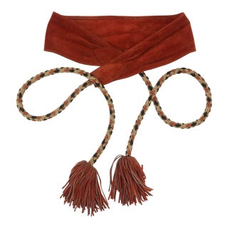 1970's Brown Suede & Gold Braid Tassel Belt For Sale
