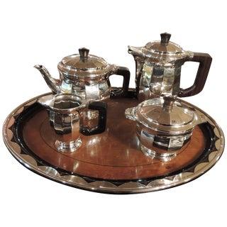 Sterling Silver Art Deco Tea Coffee Service by Delheid Freres For Sale